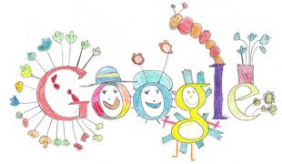 Google Logo: 2011 Doodle 4 Google 'To me, happiness is...' Ireland Winner - Drawn by Layla Karpuz