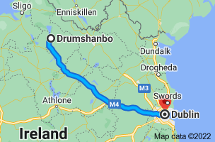 Map from Drumshanbo, Co. Leitrim to Dublin