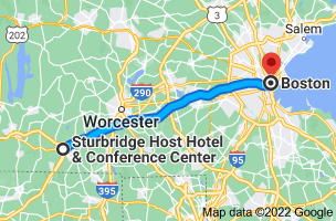 Map from Sturbridge Host Hotel & Conference Center, 366 Main St, Sturbridge, MA 01566, USA to Boston, Massachusetts, USA